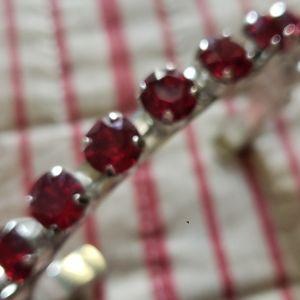 Cuff bracelet red crystal rhinestone silver tone